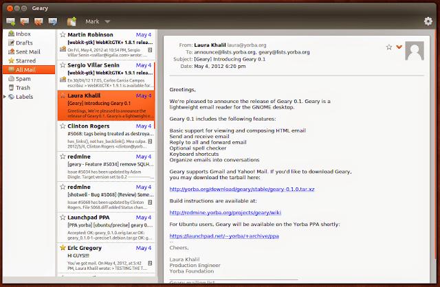 Geary E-mail recebe atualização - instale agora