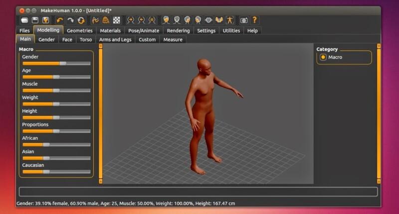 Make Human: Modelador de seres humanos em 3D para Ubuntu